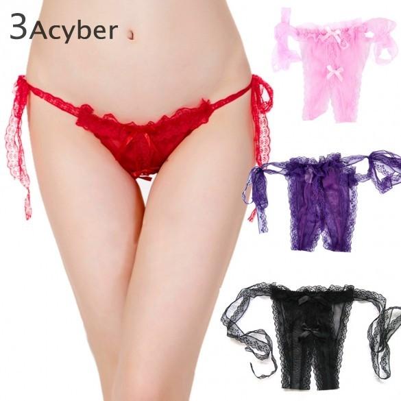 Hot Women's Sexy Open Crotch Slipknot Thongs G-string Bikini Underwear Lingerie 34