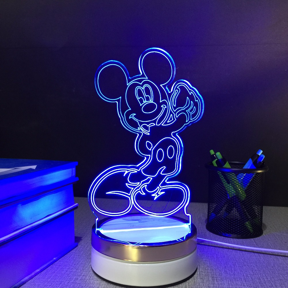 2 Pcs Mickey Mouse USB Touch Night Lamp 3D Table Lamps 7 Color Changing LED Lamp Home Decor Customized Gift for hildren C10082(China (Mainland))