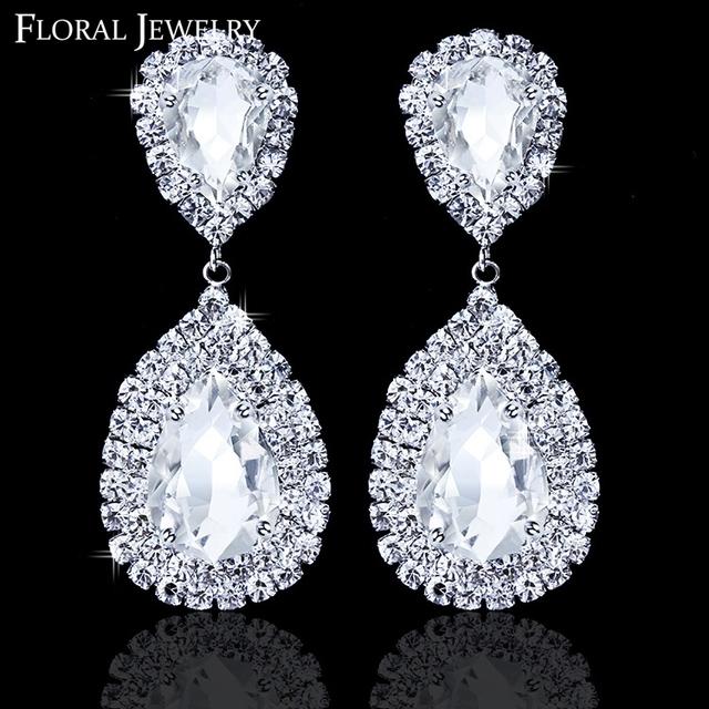Новый бесплатная доставка LuxuriousTeardrop кристалл серьги для женщин большой мотаться свадебные свадебные аксессуары EH003