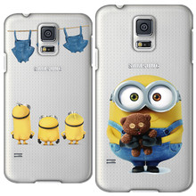 Cute Cartoon Despicable Me Yellow Minion Case For Samsung Galaxy S5 Flip Cover Case I9600 G900 Original Phone Accessories