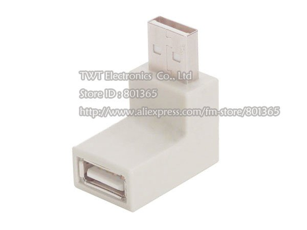 Free shipping USB Type A 90degre Low Down Right Angle Adapter white Male to Female extension 2Qty(China (Mainland))