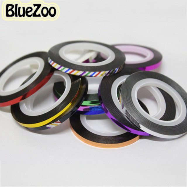 BlueZoo 20 Color Rolls Striping Tape Metallic yarn Line Nail Art Decoration Sticker Free Shipping