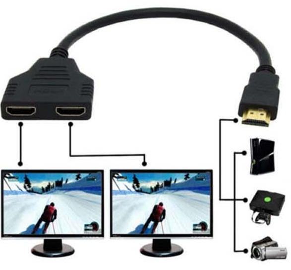 HDMI 1 Male To Dual HDMI 2 Female Y Splitter Cable Adapter HD LED LCD TV 2015(China (Mainland))