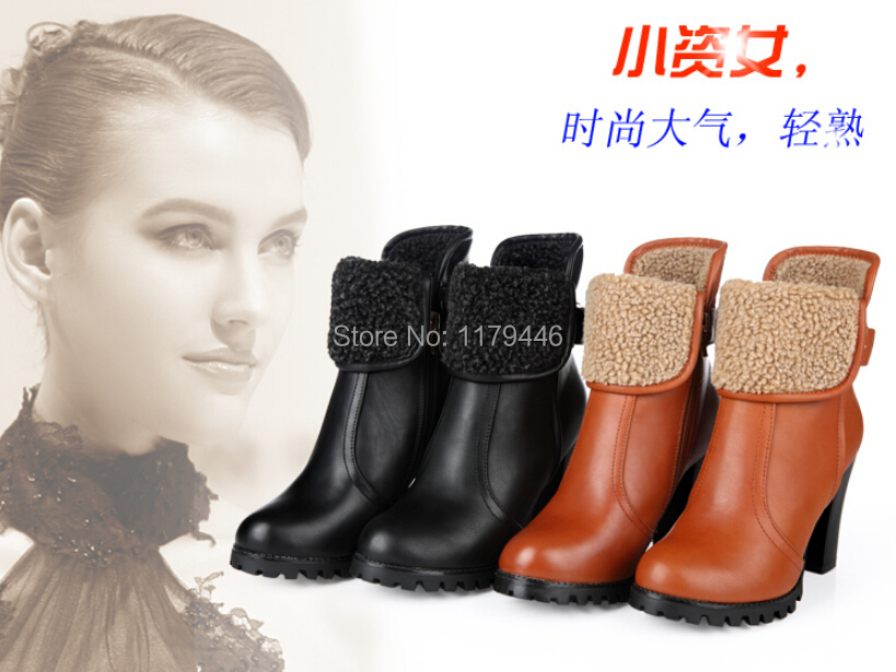 2015 brand new winter boot women boots genuine leather shoes woman high heels thick round ankle boots Martin snow boots(China (Mainland))