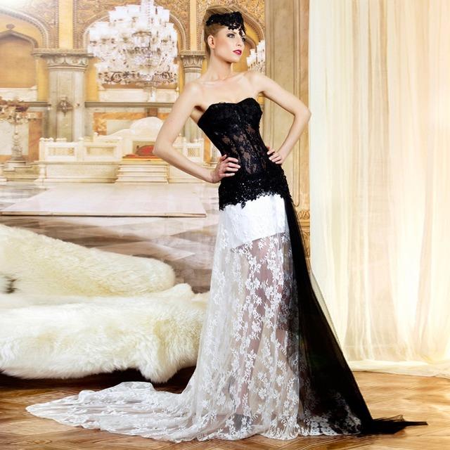 Свадебные платья без бретелек длинный шлейф кружева белый и черный