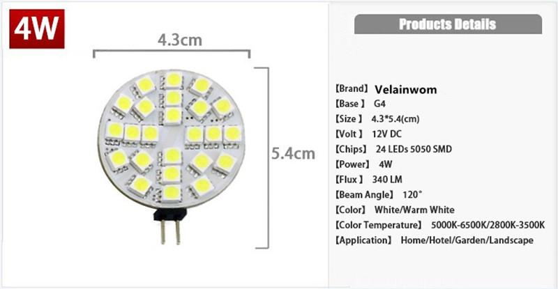 G4 Led Lamp 1W/2W/3W/4W  DC12V 5050SMD 6/9/12/24 Leds chandelier Light Free Shipping