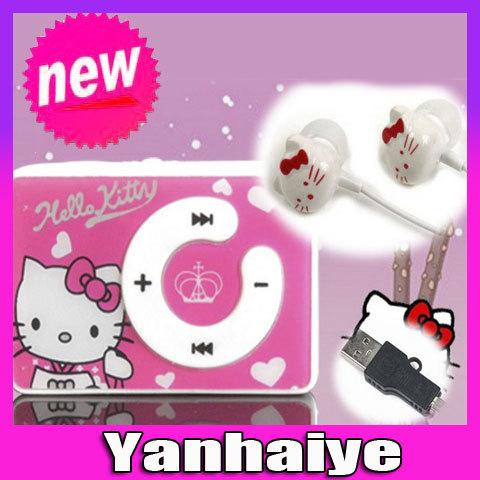 new mini clip hello Kitty MP3 player support TF card with USB Cable Earphone Crystal NO Box Free shipping Retail and wholesale(China (Mainland))
