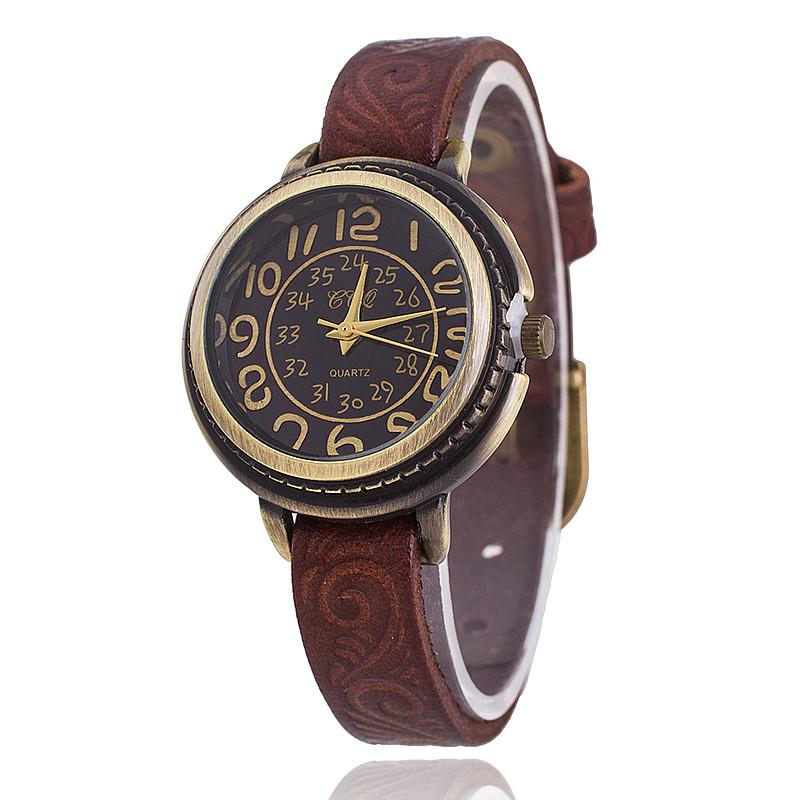 Гаджет  8 Colors New Fashion Cow leather Bracelet Watches Women Vintage Flower Engraved Vintage Wrist Watches Quartz Watch None Ювелирные изделия и часы