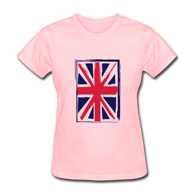 Solid t shirt womens union jack painted style design for Printing logos on t shirts