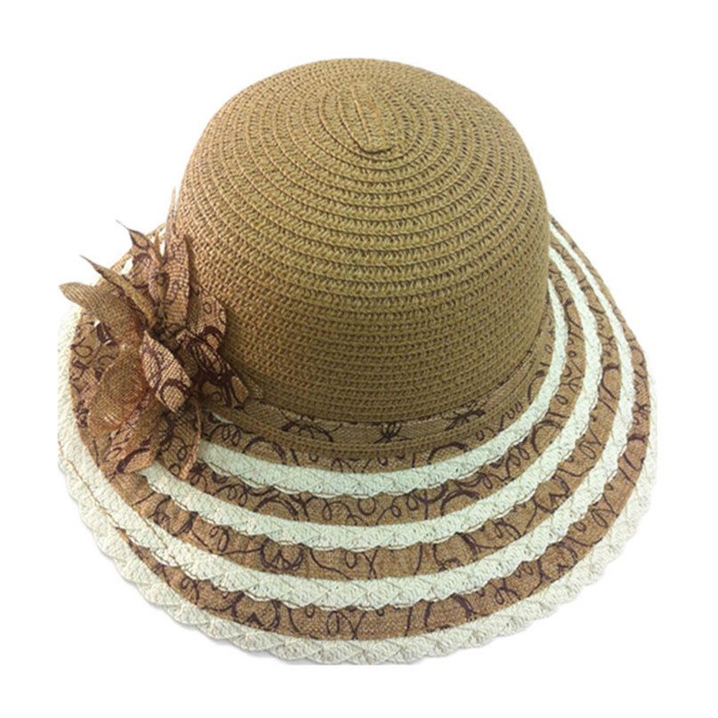 Modern Charming Flower Striped Straw Women Summer Hat Beach Cap Sun Hats Jul13(China (Mainland))