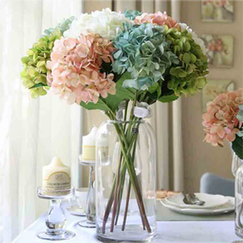 5Pcs/lot Artificial Craft Hydrangea Bouquet for Home Party Wedding Decoration Fake Bridal Silk Flowers(China (Mainland))