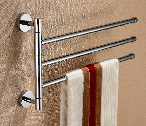 Three Levers Solid Brass Chrome Elegant Swivel Towel Bar