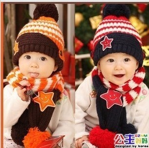 Free shipping Star children's cap new hat children's hat with scarf CA067