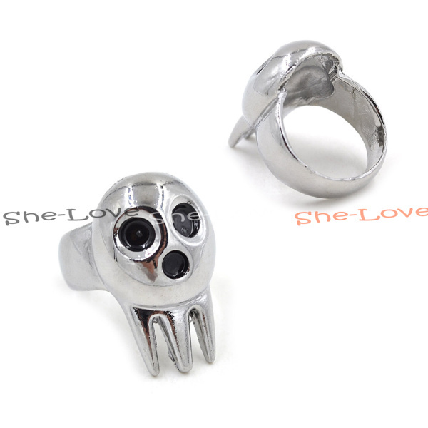 1X Silver Tone Soul Eater Death The Kid Cosplay Ring Size US8.5(China (Mainland))