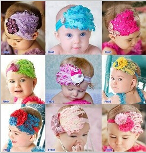 New Head Band Hot sale toddle Head Band fashion design Baby dedicated feather flower modelling of CZ diamond hair band/Hats(China (Mainland))