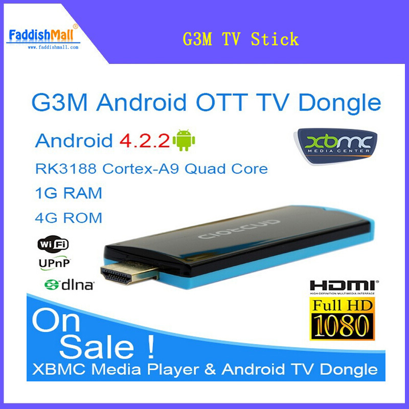 2014 New Arrival Android TV Box G3M Android 4.2 TV Stick Dongle RK3188 Cortex-A9 Quad Core 1.6Ghz, 1G/8G XBMC Media Center(China (Mainland))