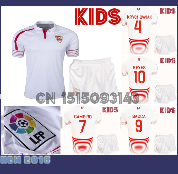 Top quality 2016 Sevilla FC kids Soccer Jersey kids Kits 15 16 Children home Youth Uniforms BACCA REYES EVER BANEGA boy soccer(China (Mainland))