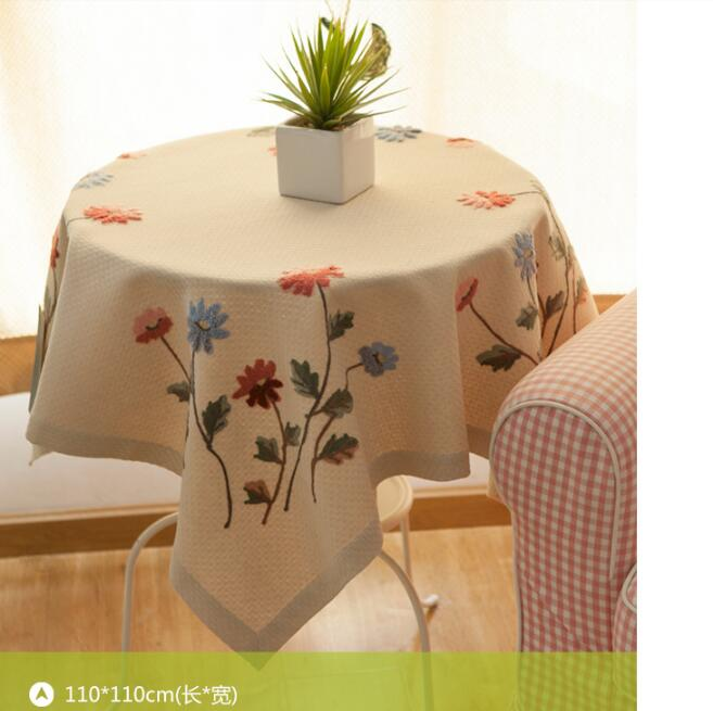 Free shipping European classic hand made flower tablecloths upscale embroidery table cloth upholstery rectangle furniture cover(China (Mainland))
