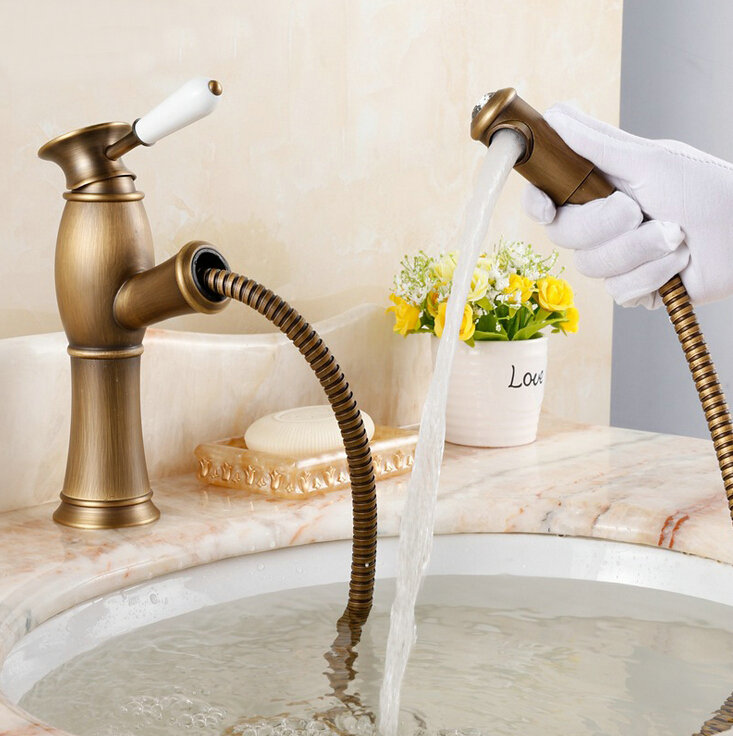 Free Shipping Promotion NEW Arrival Deck Mounted Kitchen Basin Faucet Pull Ou