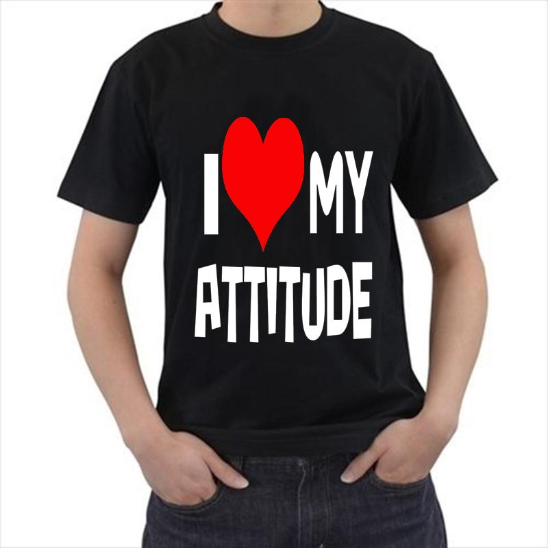 I love my attitude 2015 New Fashion Men's T-shirts Short Sleeve Tshirt Cotton t shirts Man Clothing(China (Mainland))