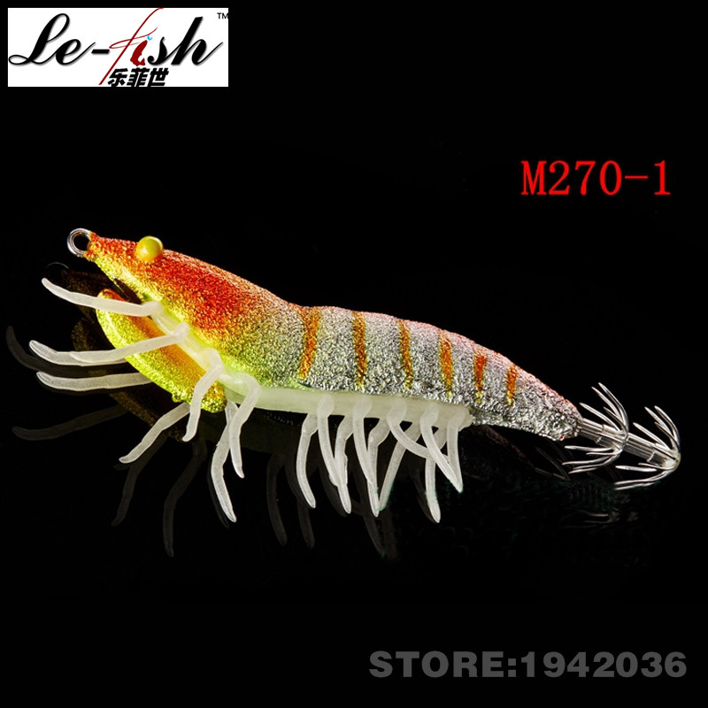 Free Shipping Le-Fish Hot Sale Squid Jigs Shrimp Fishing Lure Artificial Bait Quality ABS 75mm/12g Bait For Fake Baits Holder(China (Mainland))