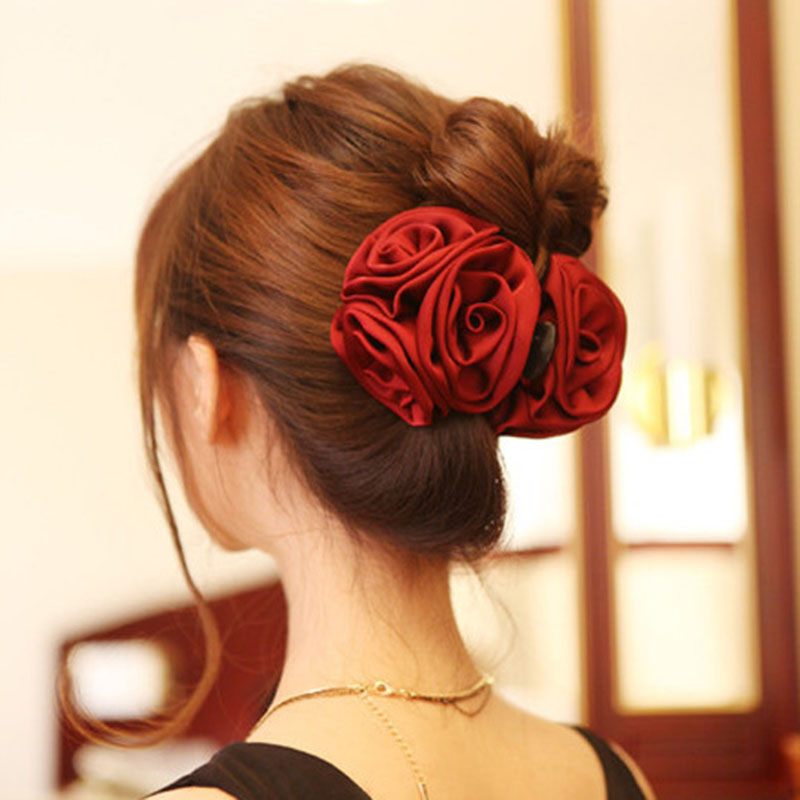 Korean Beauty Ribbon Rose Flower Bow Jaw Clip Barrette Hair Claws Headwear for Women Accessories(China (Mainland))