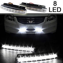 Free Shipping New 2Pcs Universal Car Daytime Running Lights 8 LED DRL Daylight Kit Super White 12V DC Head Lamp