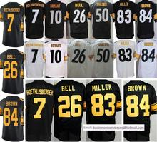 Cheap 7 Ben Roethlisberger 10 Bryant 26 Le'Veon Bell 43 Polamalu 48 Bud Dupree 83 Heath Miller 84 Antonio Brown Black White(China (Mainland))