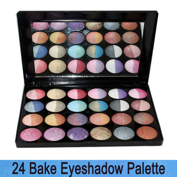 Free Shipping! New Pro Luxury 24 * 2 Color Bake Mineral glitter Shimmer Wet/Dry makeup eyeshaodow Palette Cosmetics sets 24B