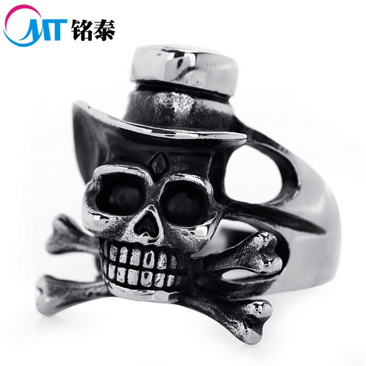 2013 Silver Stainless Steel Love Kills OX Skull Bands Pirates Party Ring New Arrival(China (Mainland))