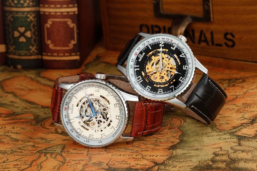 ГРУ марка кожа техника мужской Наручные часы водонепроницаемый Световой цифровой мужская Автоматические Часы мода Скелет