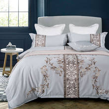 IvaRose 2019 Egyptian cotton bedding sets white Embroidery bed linen duvet cover bed sheet pillow case set king queen size(China)