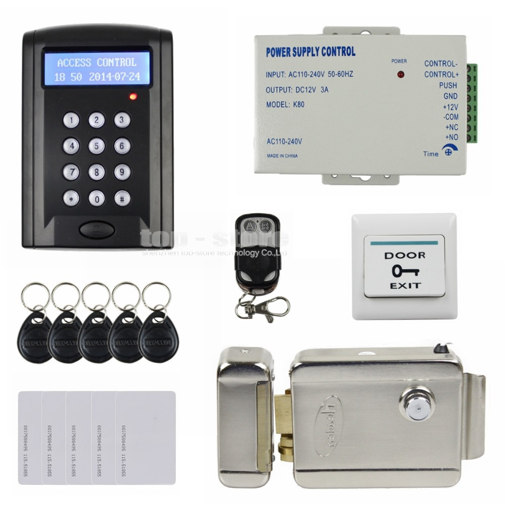 Remote Control Electric Lock LCD 125KHz RFID Reader Password Keypad Access Control Door Lock System Kit Security System BC200(China (Mainland))