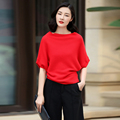 Women s fashion pullover sweater with bat wing half sleeve solid color 100 cashmere knitted