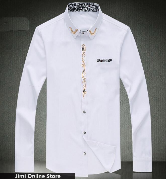 Men Shirt M 7xl Slim Solid Color Embroidery Long Sleeve