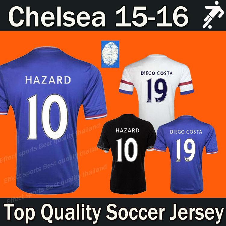 Best thai quality Chelsea 15 16 Soccer Jerseys DROGBA FABREGAS HAZARD OSCAR DIEGO COSTA CUADRADO Chelsea 2016 football shirt(China (Mainland))