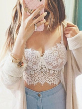 2015 Women Crop Top Bralette Lace Eyelash Spaghetti Strap Sleeveless Hollow out Camis Sexy Bustier Shirt Summer Casual Blouse(China (Mainland))