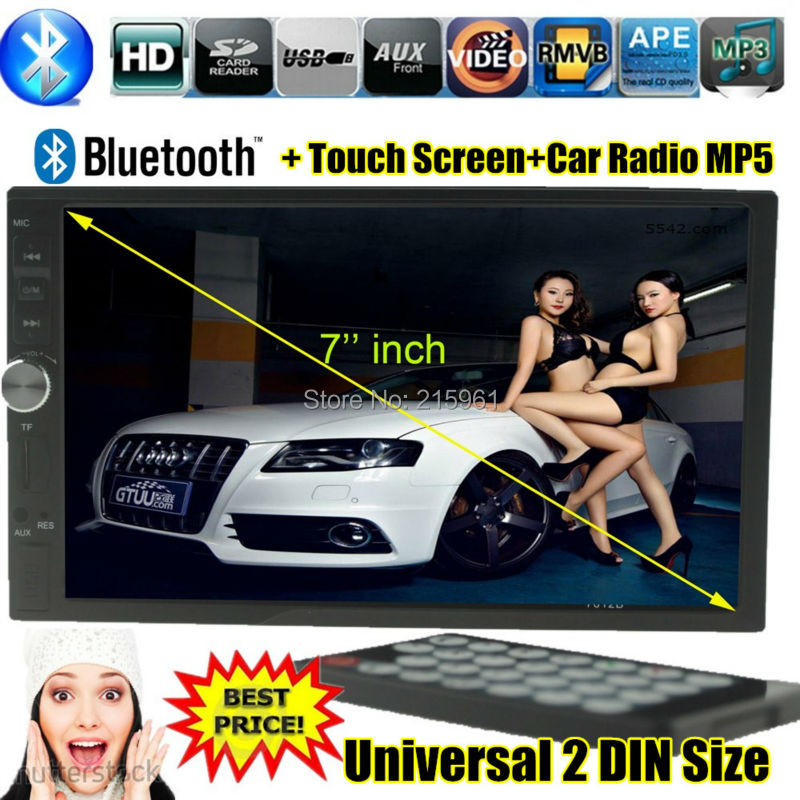 NEW 7 inch LCD Touch screen car radio mp5 player BLUETOOTH HD 1080P movie Support rear view camera 2 din car audio in dash<br>