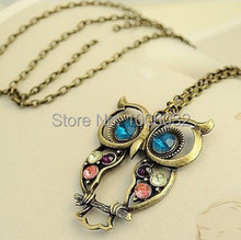 2014 Big Discount Hollow Out Beautiful Owl Women Necklace Long Copper Alloy Chain Vintage Owl Pendants classic retro jewelry