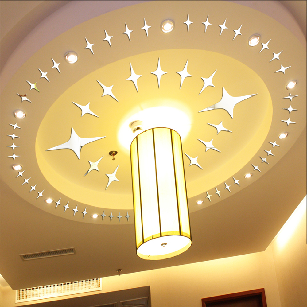 50pcs twinkle stars ceiling decor 2014 crystal reflective for 3d wall decoration stickers