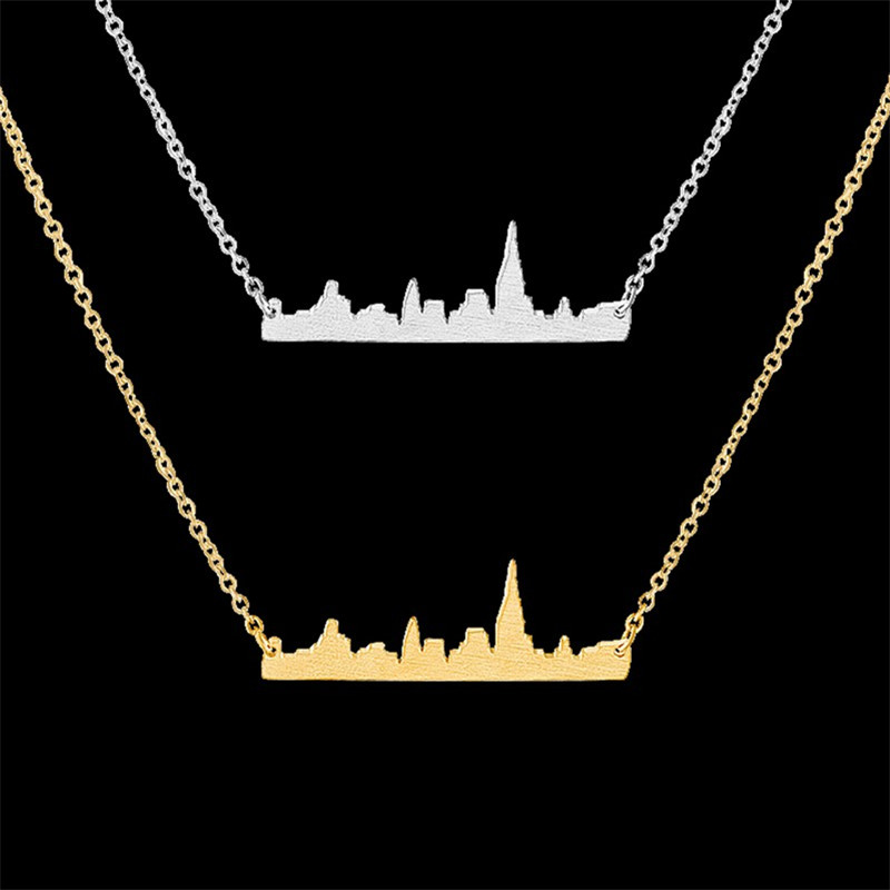 1-2016 Fashion Choker Cityscape Jewelry Body Chain Simple New York City Necklace Stainless Steel Pendant Women Men - CC Helen store