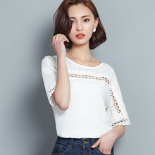 New Women Casual Basic Summer Lace Chiffon Blouse Top Hollow out Shirt short sleeves fashion patchwork O-neck Plus Size
