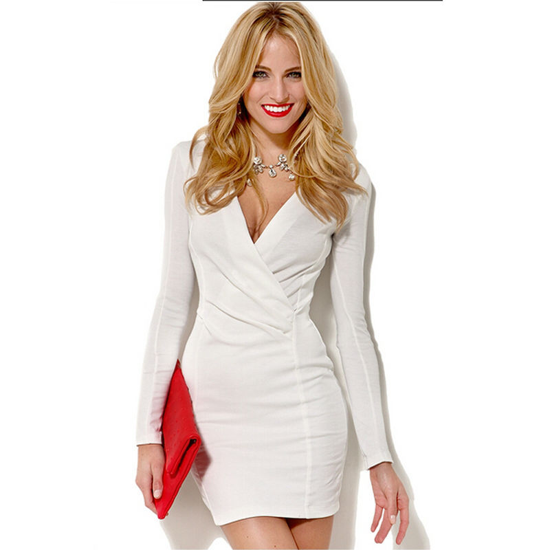 2015-New-Arrival-Sheath-Solid-Colored-Party-Dress-Regular-Long-Sleeve-White-Dress-V-Neck-Sexy
