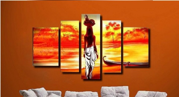 (NO FRAMED)100% handmade discount abstract <font><b>african</b></font> canvas art landscape oil painting 5 panel modern sets wall <font><b>decor</b></font> 403