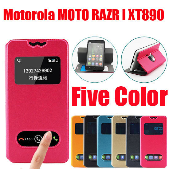New item Fasion Leather Wallet bag case for Motorola MOTO RAZR i XT890 Mobile phone Flip PU Case Back Cover In Stock D2(China (Mainland))
