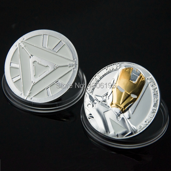Wholesale Coins United States Hollywood movie The Avengers Iron Man Challenge 1pcs/lot Gift silver plated(China (Mainland))