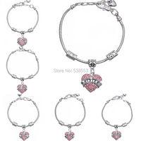 Hot Sale Pink Heart Pendant Daughter Mom Sister Grandma Nana Niece Aunt Best Friend Hope Bracelets Vintage Rhinestone Bracelets