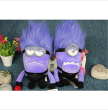 Despicable ME 2 Minions Purple Evil 2 eyes Plush Doll Toy 23 cm Brinquedos Minions Pelucia Gifts for Kids hot sale(China (Mainland))