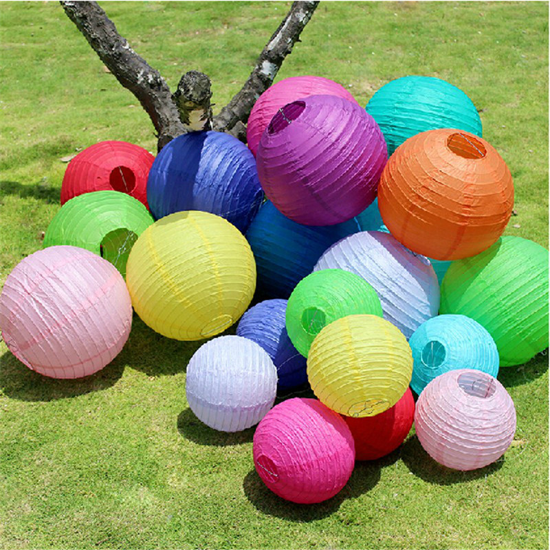 "15cm(6"") Chinese round paper lantern wedding lantern festival decoration paper lamp mix 20 colors wedding party favors PP200(China (Mainland))"