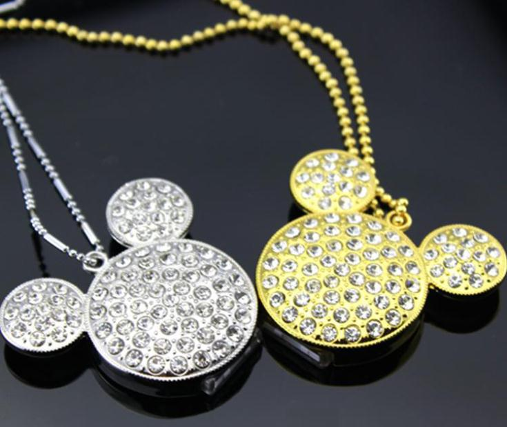100% Real Mickey Head /4GB/8GB/16GB/32GB USB Flash memory pen drive Fashion Jewelry Crystal Necklace(China (Mainland))